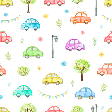 Seamless pattern with cute cartoon multicolored cars, flowers, trees, bushes and streetlight isolated on white background. Watercolor hand painted illustration Zdjęcie Seryjne