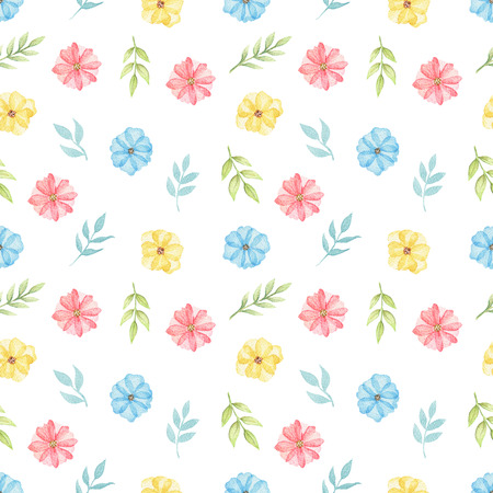 Seamless floral pattern with cute cartoon multicolored daisies and twigs isolated on white background. Watercolor hand painted illustration Stock Photo