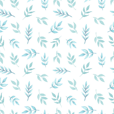Seamless floral pattern with cute cartoon blue twigs isolated on white background. Watercolor hand painted illustration
