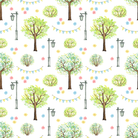 Seamless pattern with cute cartoon flowers, trees, bushes, garland and streetlight isolated on white background. Watercolor hand painted illustration Stok Fotoğraf