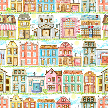 Seamless pattern with cute cartoon city buildings on white background. Watercolor hand painted illustration Stok Fotoğraf