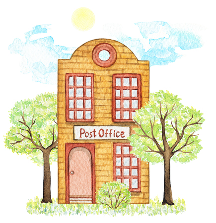 Orange cartoon post office building surrounded by trees, bush, grass, sky and sun isolated on white background. Watercolor hand painted illustration Stock Photo