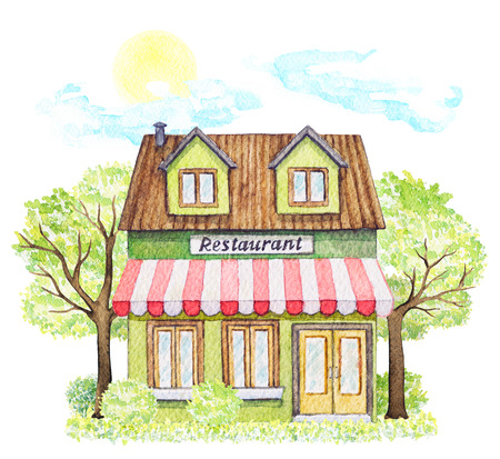 Green cartoon restaurant building surrounded by trees, bushes, grass, sky and sun isolated on white background. Watercolor hand painted illustration