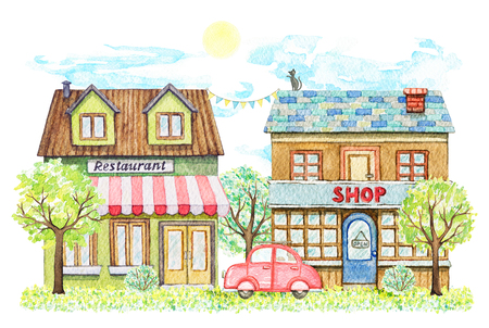 Composition with cartoon restaurant and shop buildings surrounded by trees, bushes, red car, grass, sky and sun isolated on white background. Watercolor hand painted illustration