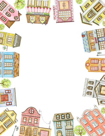 Rectangle frame with cute cartoon city buildings isolated on white background. Watercolor hand painted illustration Stock Illustration - 121791294
