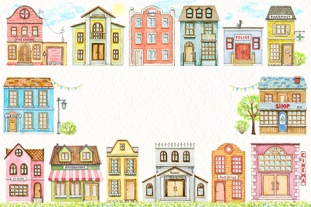 Rectangle frame with cute cartoon city buildings isolated on paper texture background. Watercolor hand painted illustration 스톡 콘텐츠