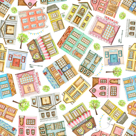 Seamless pattern with cute cartoon city buildings isolated on white background. Watercolor hand painted illustration Stok Fotoğraf