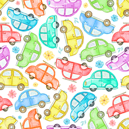 Seamless pattern with cute cartoon multicolored cars and flowers isolated on white background. Watercolor hand painted illustration