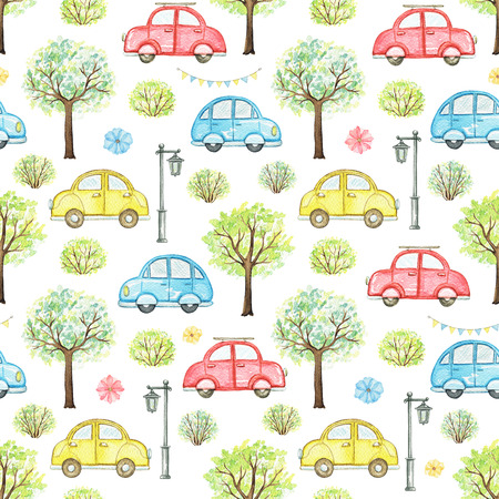 Seamless pattern with cute cartoon multicolored cars, flowers, trees, bushes and streetlight isolated on white background. Watercolor hand painted illustration Stok Fotoğraf