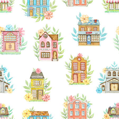 Seamless pattern with cute cartoon city buildings in flowers isolated on white background. Watercolor hand painted illustration