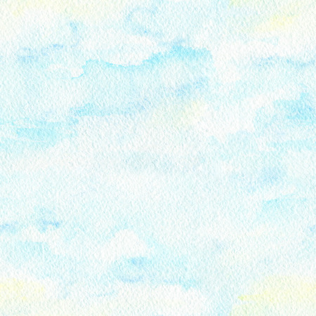 Seamless pattern with blue clouds on paper texture background. Watercolor hand painted illustration Stock Photo