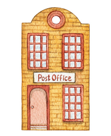 Orange cartoon post office building isolated on white background. Watercolor hand painted illustration