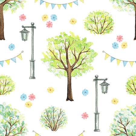 Seamless pattern with cute cartoon flowers, trees, bushes, garland and streetlight isolated on white background. Watercolor hand painted illustration Stok Fotoğraf - 121791384