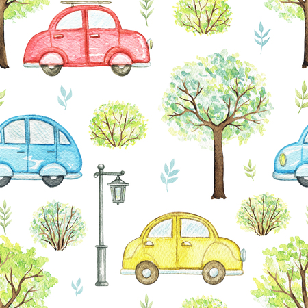 Seamless pattern with cute cartoon multicolored cars, flowers, trees, bushes and streetlight isolated on white background. Watercolor hand painted illustration Фото со стока
