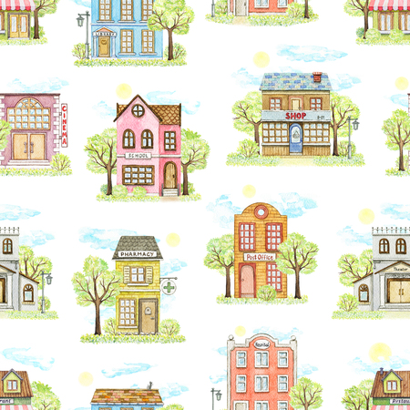 Seamless pattern with cute cartoon city buildings surrounded by landscape isolated on white background. Watercolor hand painted illustration Stock Illustration - 121791386