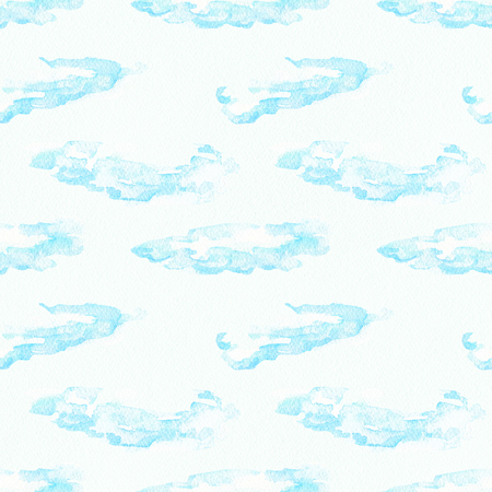 Seamless pattern with cute cartoon blue clouds isolated on white paper texture background. Watercolor hand painted illustration Zdjęcie Seryjne
