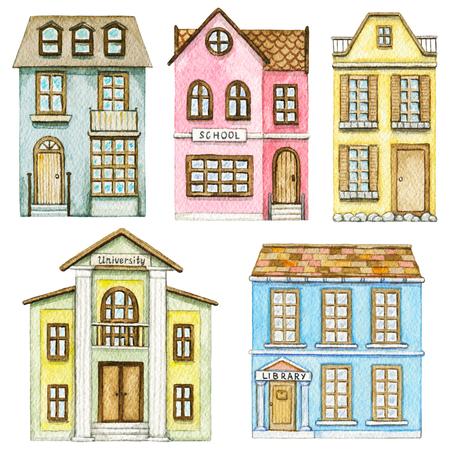 Conjunto con escuela de dibujos animados lindo, biblioteca, universidad y dos edificios residenciales aislados sobre fondo blanco. Ilustración de acuarela pintada a mano