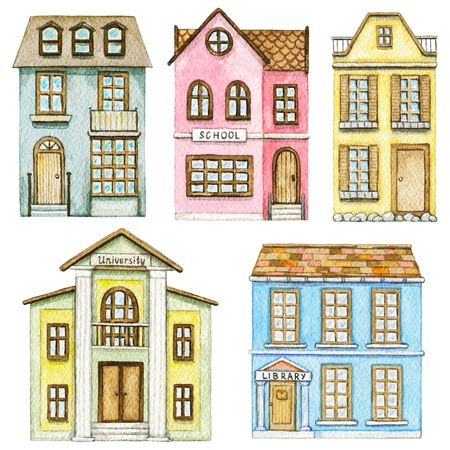 Set with cute cartoon school, library, university and two residential buildings isolated on white background. Watercolor hand painted illustration Stock Photo