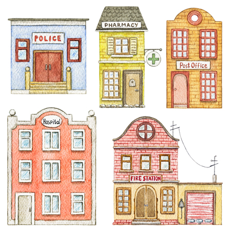 Set with cute cartoon fire station, police, hospital, post office and pharmacy isolated on white background. Watercolor hand painted illustration Stock Photo