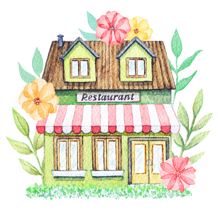 Green cartoon restaurant building in flowers isolated on white background. Watercolor hand painted illustration Stock Photo