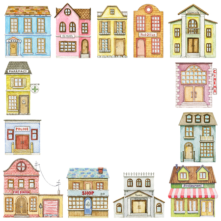 Square frame with cute cartoon city buildings isolated on white background. Watercolor hand painted illustration Stok Fotoğraf - 121791391