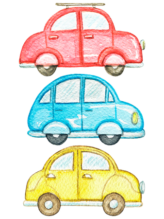 Set with three cute cars isolated on white background. Watercolor hand painted illustration