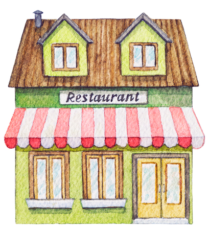 Green cartoon restaurant building isolated on white background. Watercolor hand painted illustration