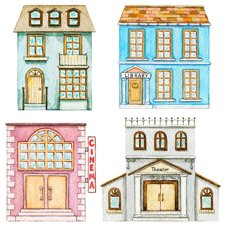 Set with cute cartoon cinema, library, theater and residential building isolated on white background. Watercolor hand painted illustration Zdjęcie Seryjne