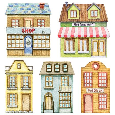Set with cute cartoon restaurant, shop, post office and two residential buildings isolated on white background. Watercolor hand painted illustration