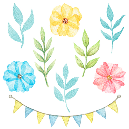 Set of cartoon cute flowers, twigs and flags isolated on white background. Watercolor hand painted illustration Stock Photo