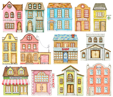 Set of cute cartoon city buildings isolated on white background. Watercolor hand painted illustration