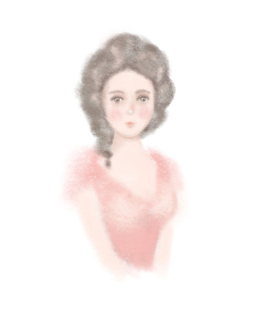 Easy sketch of portrait of a young historical girl isolated on white background. Watercolor and lead pencil graphic hand drawn illustration