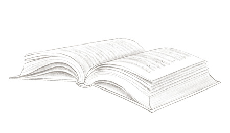 Classic open lying book isolated on white background. Lead pencil graphic hand drawn illustration