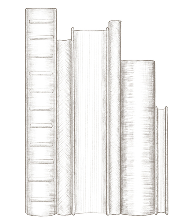 A stack of several standing books isolated on white background. Lead pencil graphic hand drawn illustration