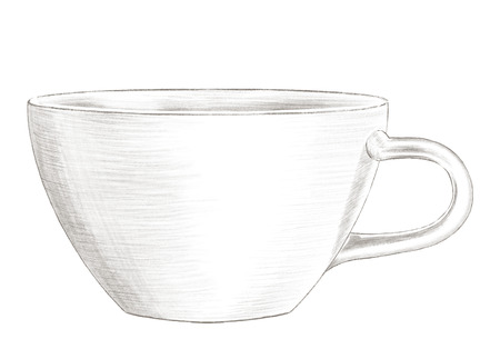 Big light cup isolated on white background. Lead pencil graphic hand drawn illustration
