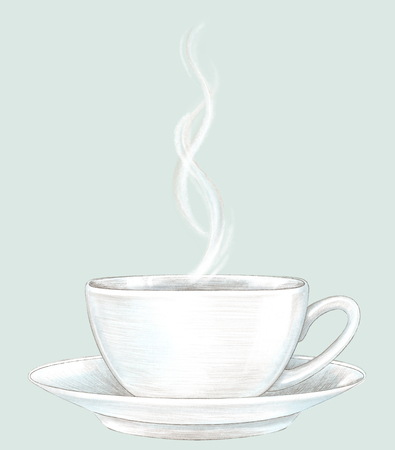 Light cup with hot drink on saucer isolated on grey background. Lead pencil graphic hand drawn illustration Stock Photo