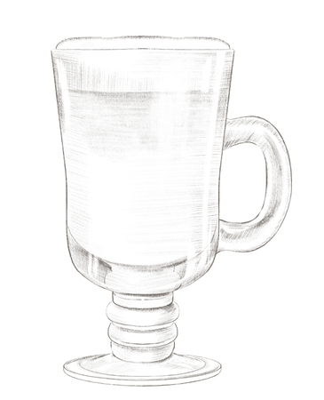 Glass cup of cappuccino coffee isolated on white background. Lead pencil graphic hand drawn illustration