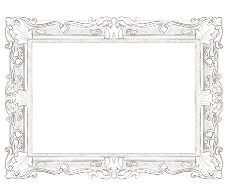 Classic carved elegant rectangular frame isolated on white background. Lead pencil graphic hand drawn illustration Stock Photo