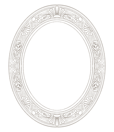 Classic carved elegant oval frame isolated on white background. Lead pencil graphic hand drawn illustration