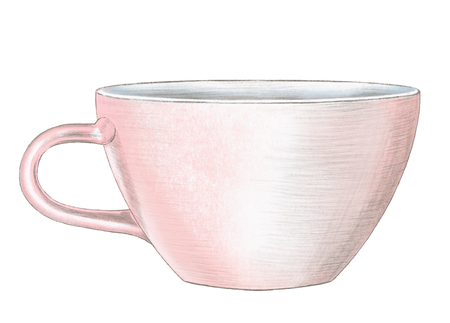 Big pink cup isolated on white background. Watercolor and lead pencil graphic hand drawn illustration