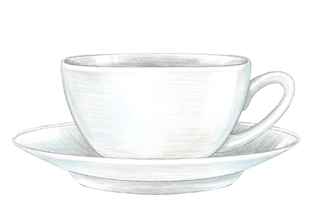 Light cup with hot drink on saucer isolated on white background. Lead pencil graphic hand drawn illustration