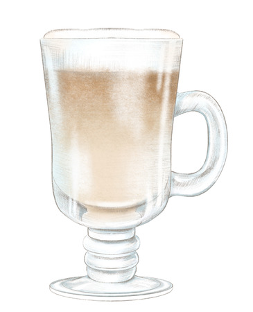 Glass cup of cappuccino coffee isolated on white background. Watercolor and lead pencil graphic hand drawn illustration Stok Fotoğraf
