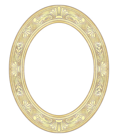Classic carved golden oval frame isolated on white background. Lead and color pencils graphic hand drawn illustration