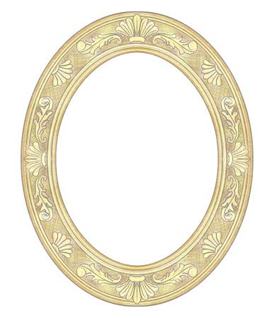 Cornice ovale dorata intagliata classica isolata su priorità bassa bianca. Illustrazione disegnata a mano grafica di matite di colore e piombo Archivio Fotografico