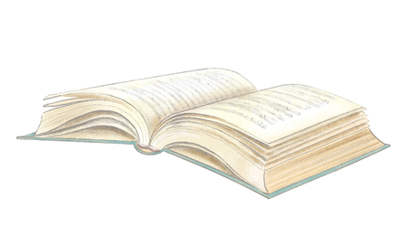 Classic open lying book isolated on white background. Watercolor and lead pencil graphic hand drawn illustration Stok Fotoğraf
