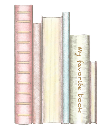 A stack of several standing books isolated on white background. Watercolor and lead pencil graphic hand drawn illustration Stok Fotoğraf - 122350050
