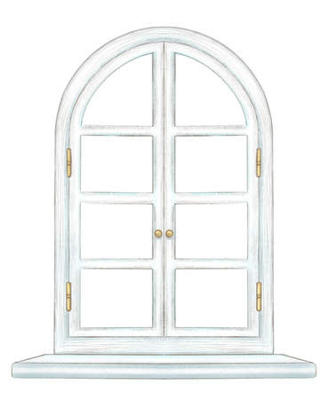 Classic white wooden arch window with bronze fittings and window sill isolated on white background. Watercolor and lead pencil graphic hand drawn illustration