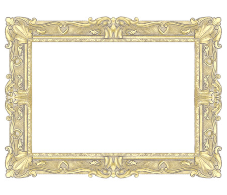 Classic carved elegant golden rectangular frame isolated on white background. Lead and color pencils graphic hand drawn illustration