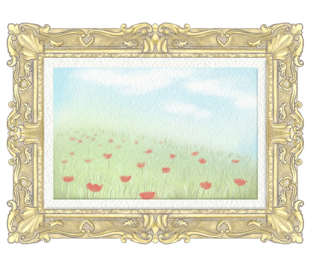 Easy sketch of portrait of a summer landscape in golden rectangular frame. Watercolor and lead pencil graphic hand drawn illustration