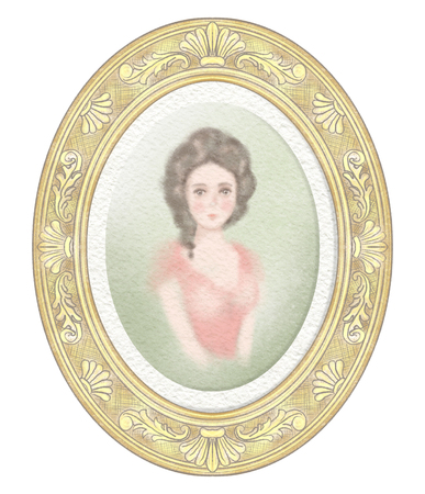 Easy sketch of portrait of a young historical girl on green background in golden oval frame. Watercolor and lead pencil graphic hand drawn illustration Stok Fotoğraf